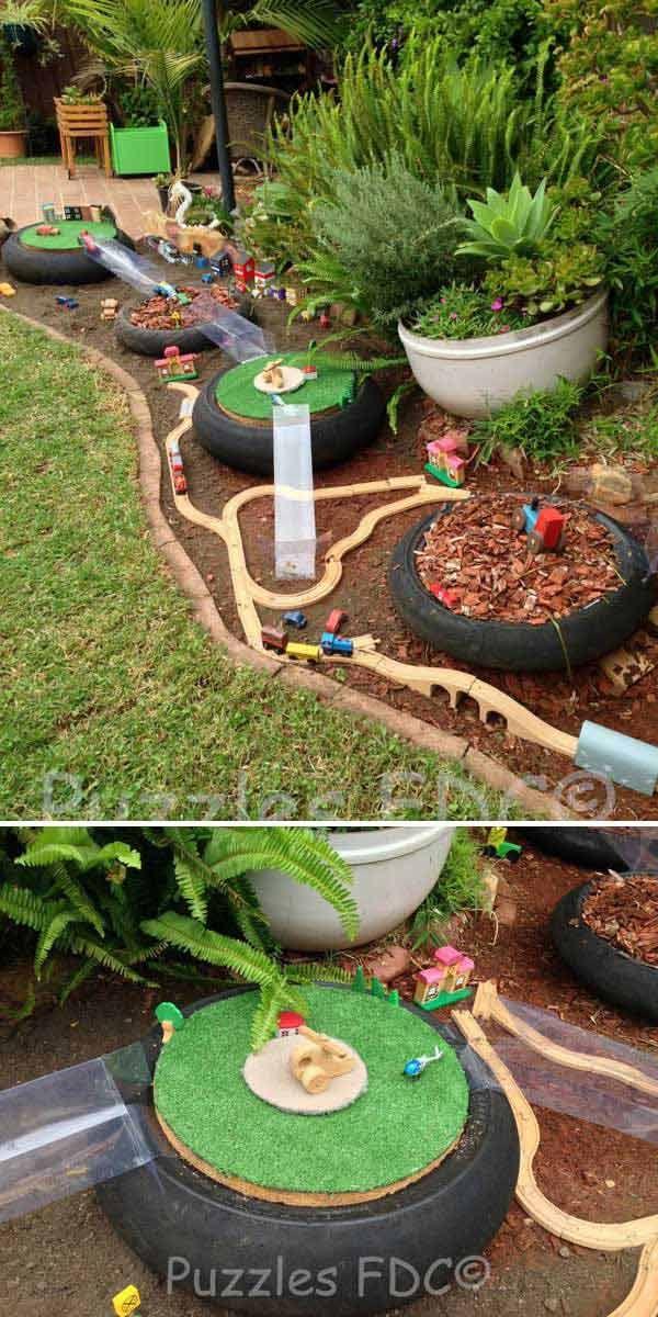 10 Create A Wooden Rail Track And Mini Houses In Your Garden To Give Hours Of Fun To Your Kids Spielplatz Im Freien Kinder Spielplatz Garten Kinder Garten