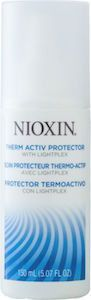 Nioxin Therm Activ Protector. Nioxin Therm Activ Protector is a heat-activated spray that protects hair against breakage. Technology: LIGHTPLEX technology for lightweight effects on thinning hair: A professional technology with polymers and conditioning agents that provide light styling hold without a stiff, rigid look and feel.