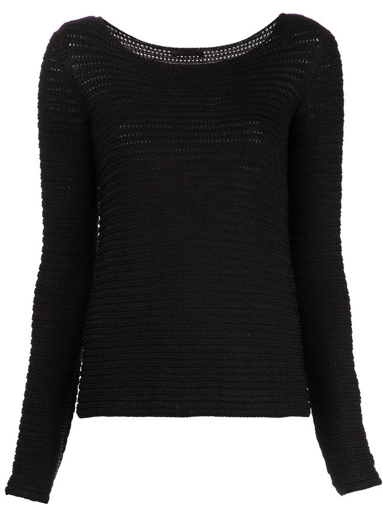 $969 NWT Fabulous THE ROW Open Knit Sweater, Black, sz XS #THEROW #BoatNeck