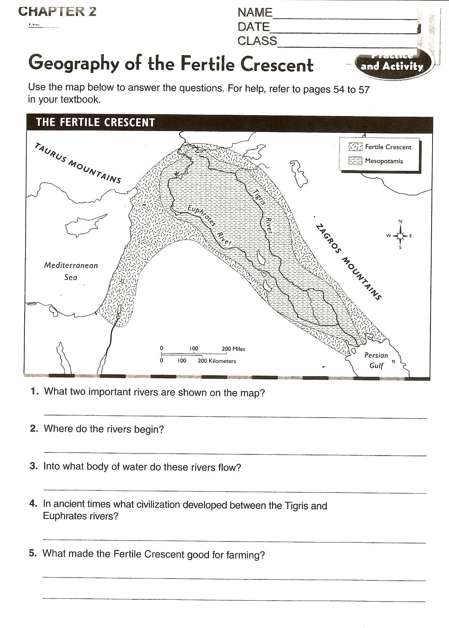 Crusades Worksheet And Map Activity The Fertile Crescent