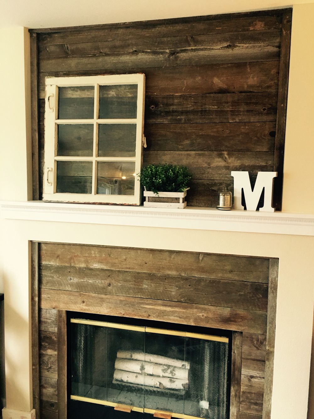 Weathered Fence Board Added To Fireplace Surround Fireplace