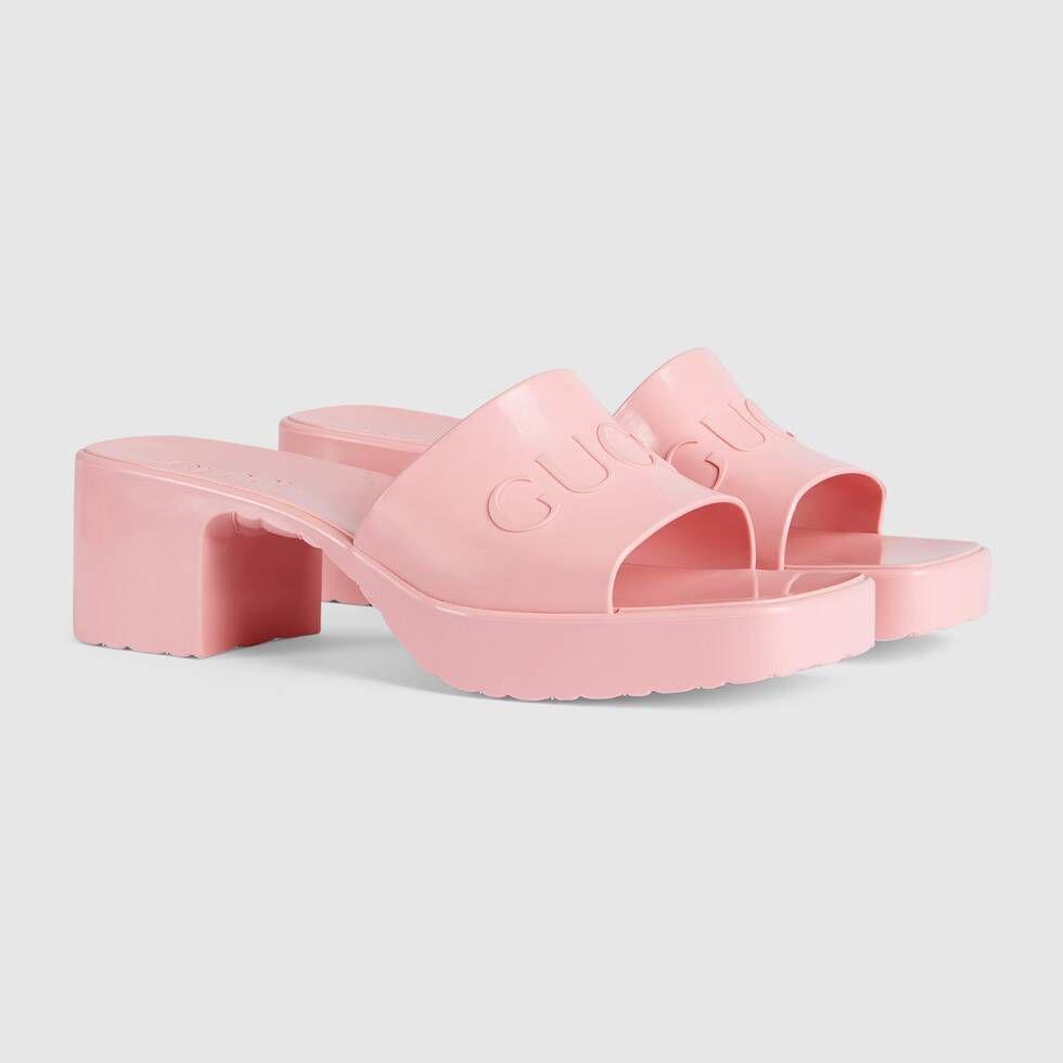 Gucci Women's rubber slide sandal in