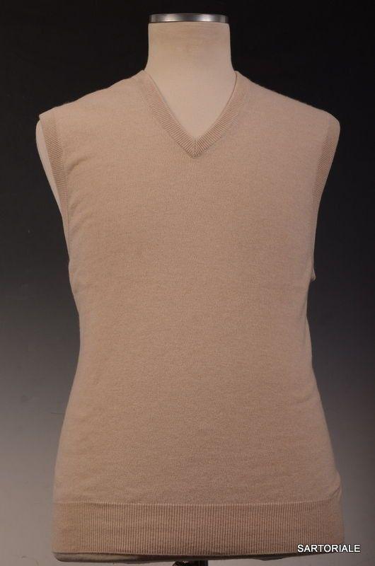 BRUNELLO CUCINELLI Beige Cashmere V-Neck Sleeveless Sweater Vest 4XL NEW 60