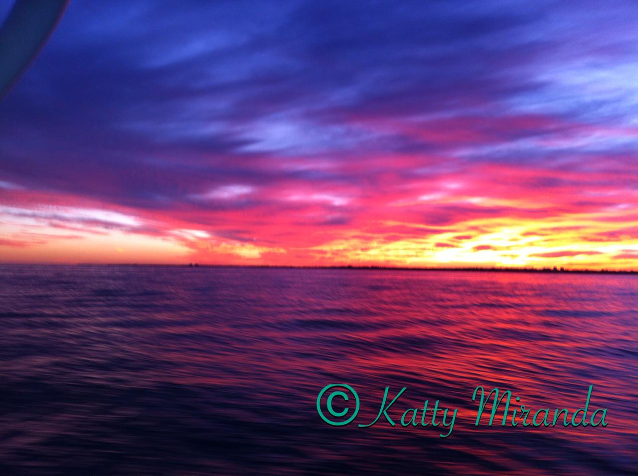 Amazing Sunset over the Biscayne Bay Miami, FL- Photo by: Katty Miranda