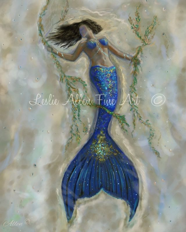 Mermaid Art Print Mermaid Painting Mermaid Decor Mermaids Siren