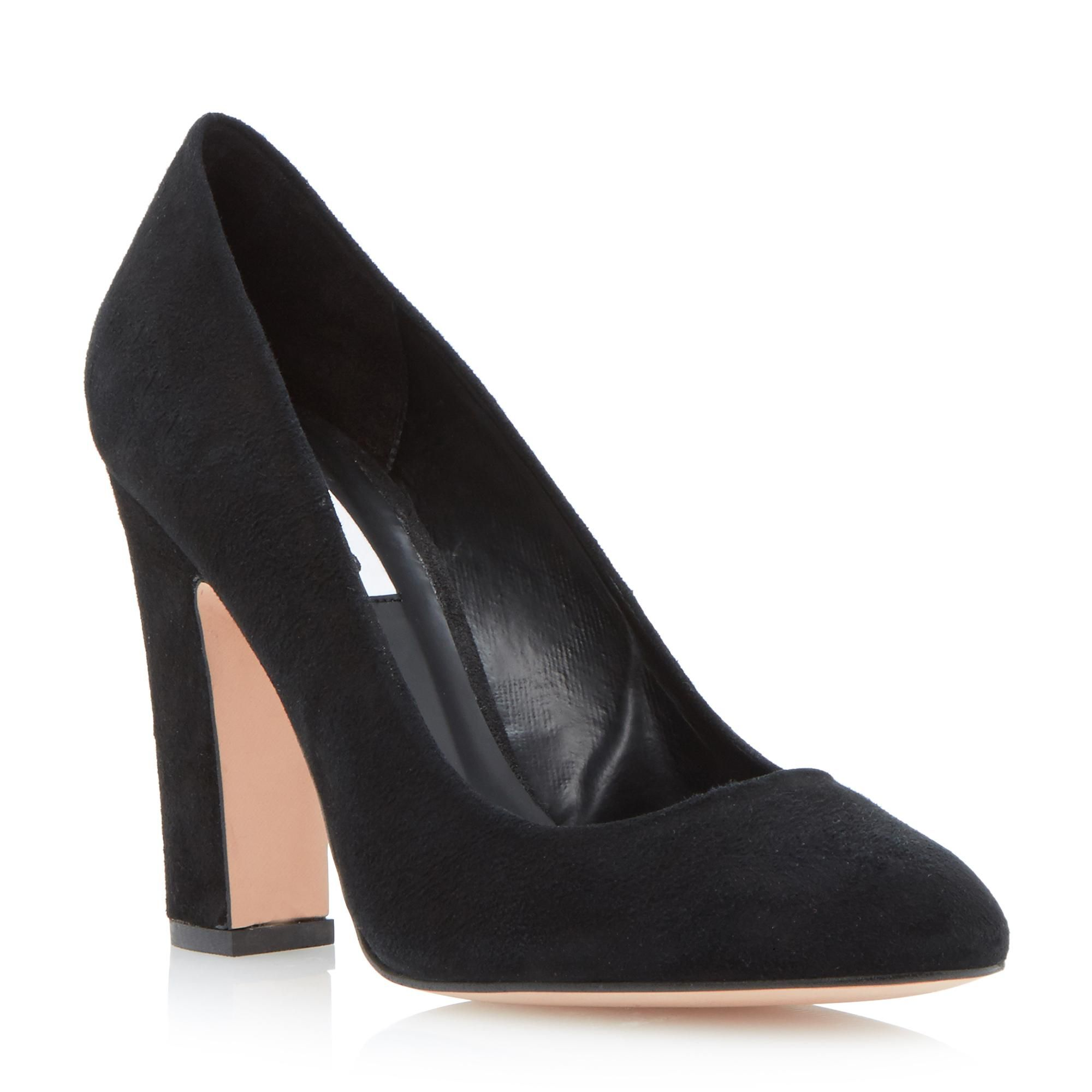 DUNE LADIES AUBREE - Almond Toe Block Heel Court Shoe - black   Dune Shoes  Online