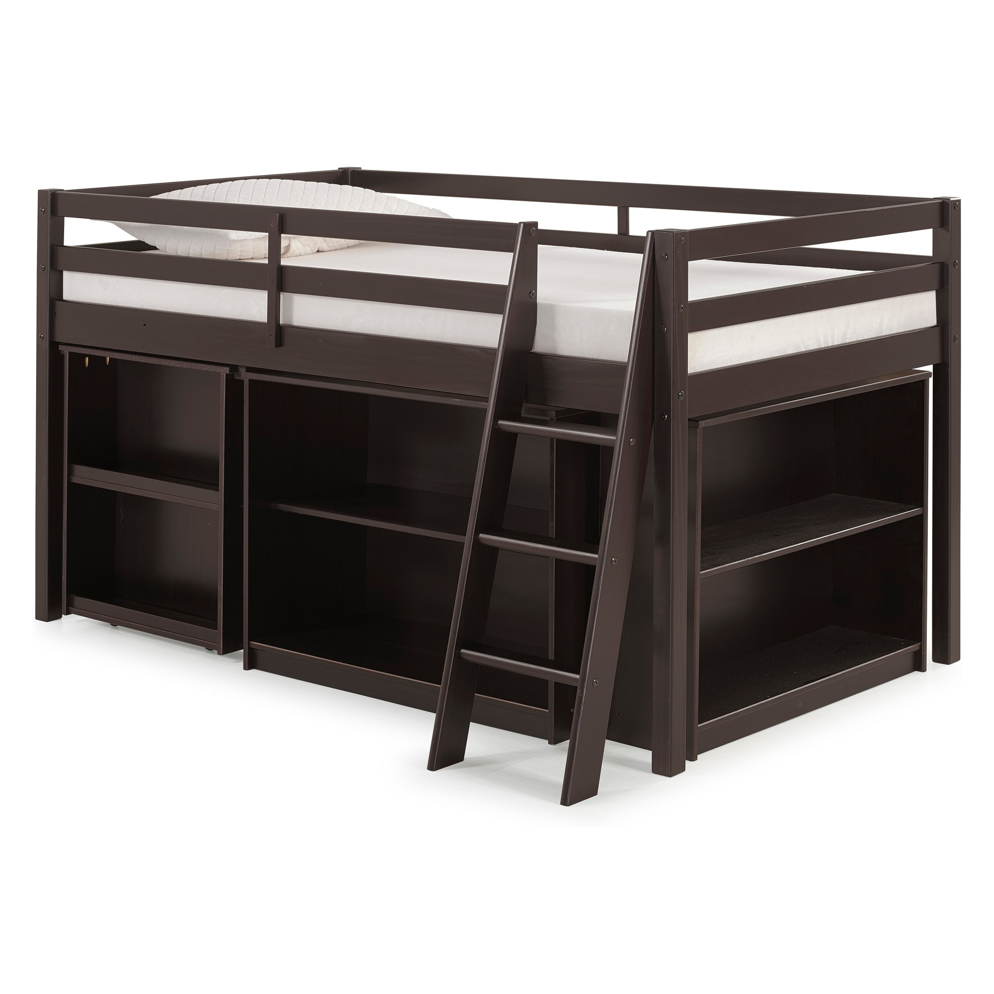 Junior loft bed with stairs  Roxy Junior Loft Twin Bed With Storage Drawers Bookshelf And Desk
