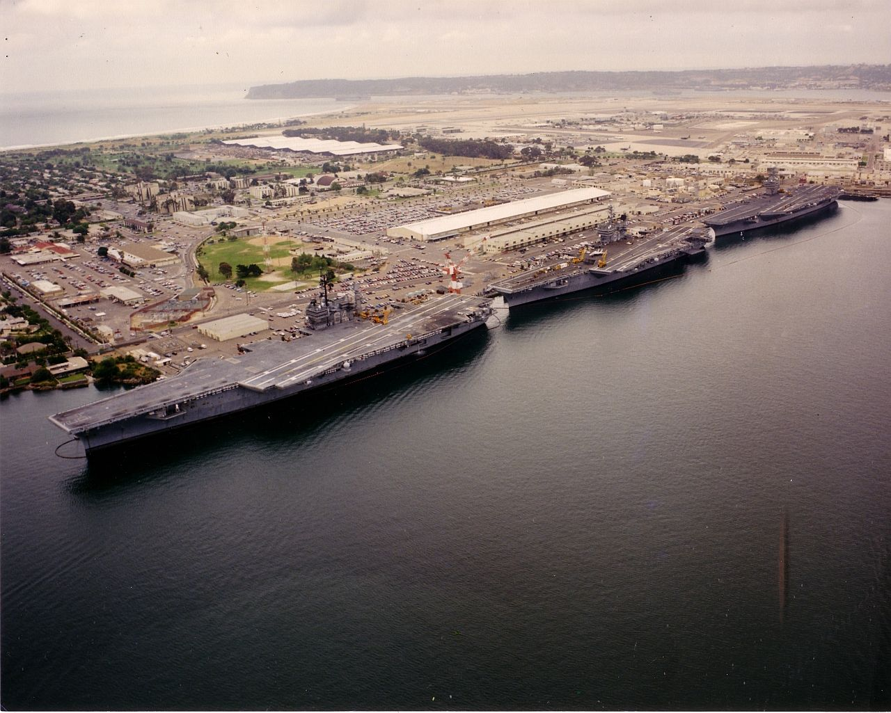 Aircraft carriers pierside at naval air station north