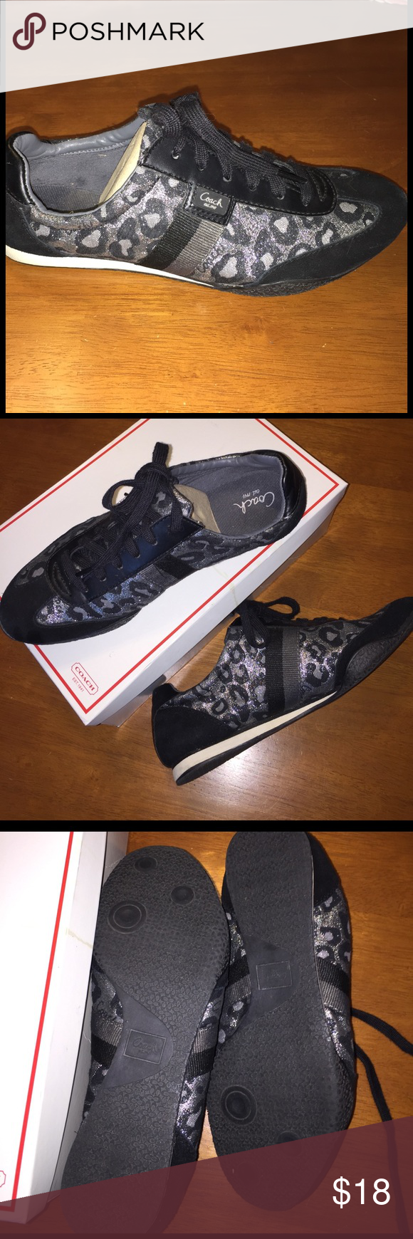 "Coach Metallic Ocelot Grey Sneaker Size 9 Authentic ""Kinsley"" Coach metallic grey/black sneaker size 9. Ocelot print. Worn only a few times. In good shape. Mark on the sole of the right shoe seen in last pic. Coach Shoes Athletic Shoes"