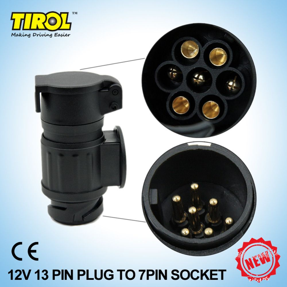 tirol 13 to 7 pin trailer adapter black frosted materials trailer wiring connector 12v towbar towing plugt22809b [ 1000 x 1000 Pixel ]