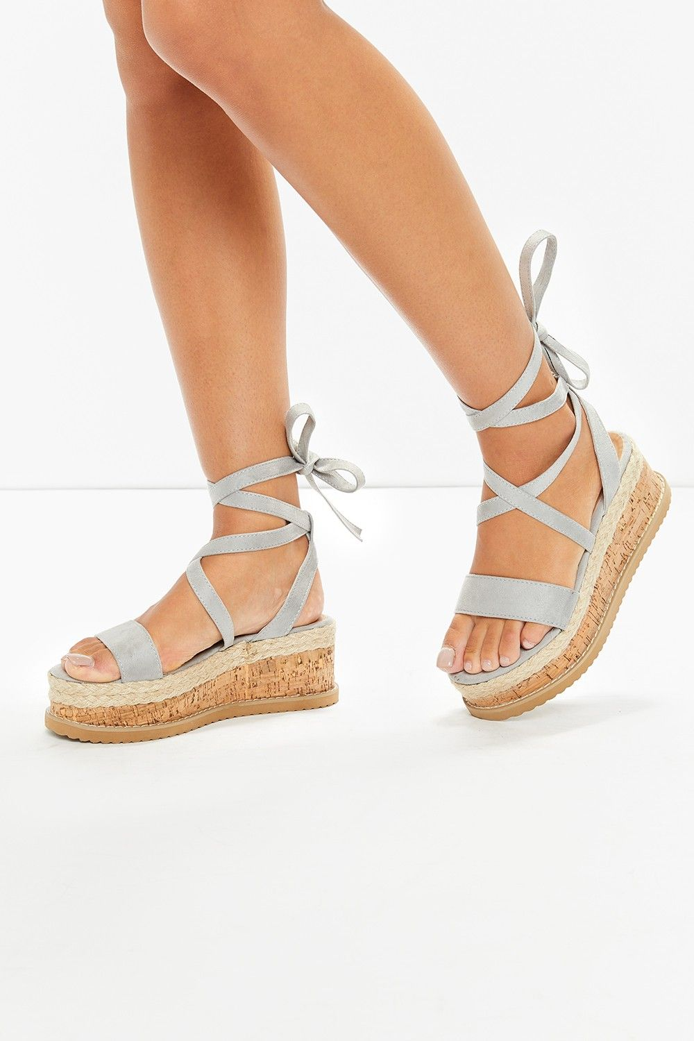 b27ab2dcc5fd Ariella Grey Suede Tie Up Espadrille Platform Sandals in 2019 ...