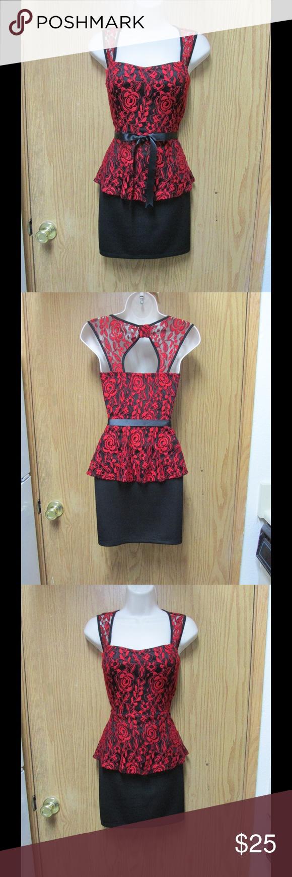 Chic black dress wred lacebelt uback bow design stretchy