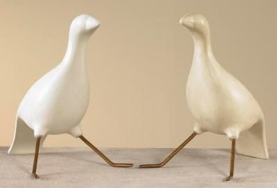 "**shows the two finishes, but kinda cute in a pair like this, whatever the finish..."" Gesso Seated Bird 