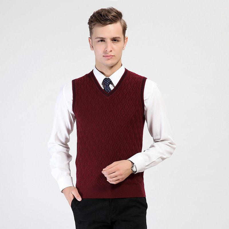 High Quality Men's Formal Classic V-neck Pullover Cashmere Sweater ...