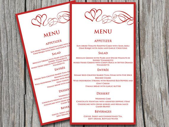 Heart Wedding Menu Template - Wedding Reception Menu - Valentine Red