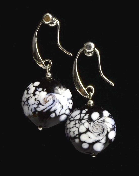 Lampwork Glass Black White Lentil Earrings Dangle by IraShop
