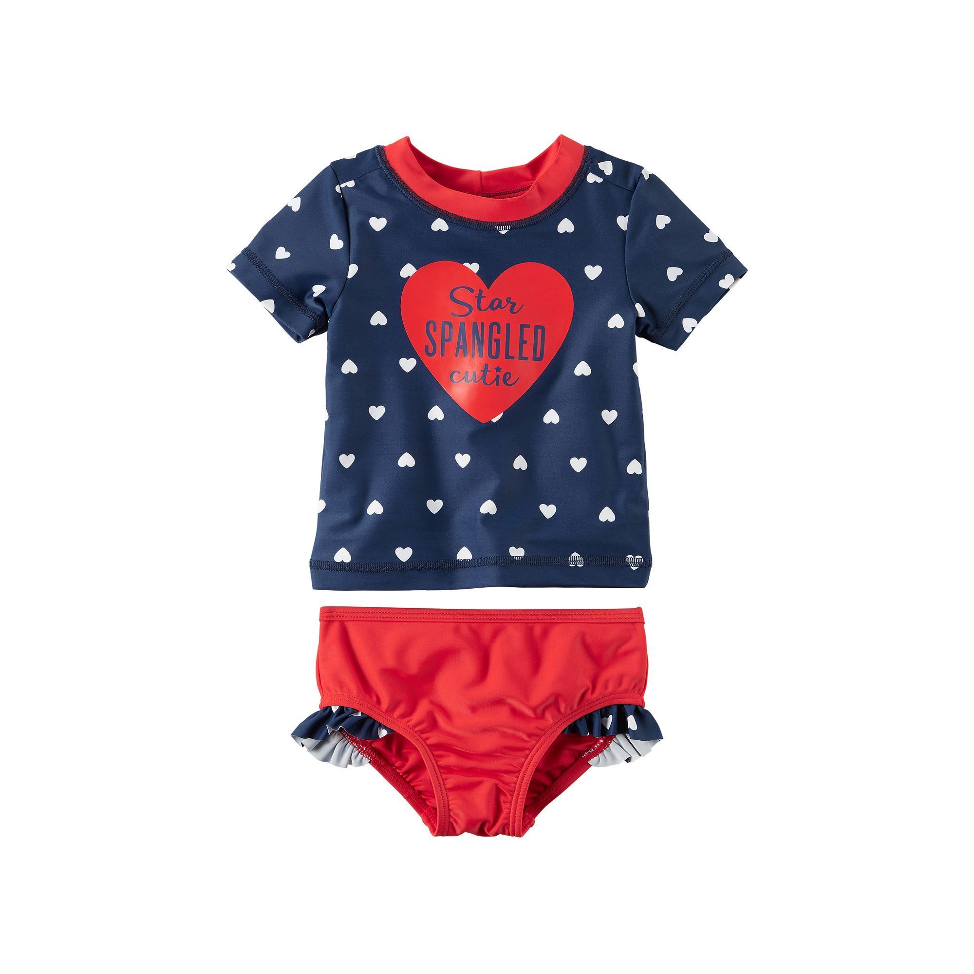 Baby Girl Carter S Star Spangled Cutie Heart Rashguard Ruffled