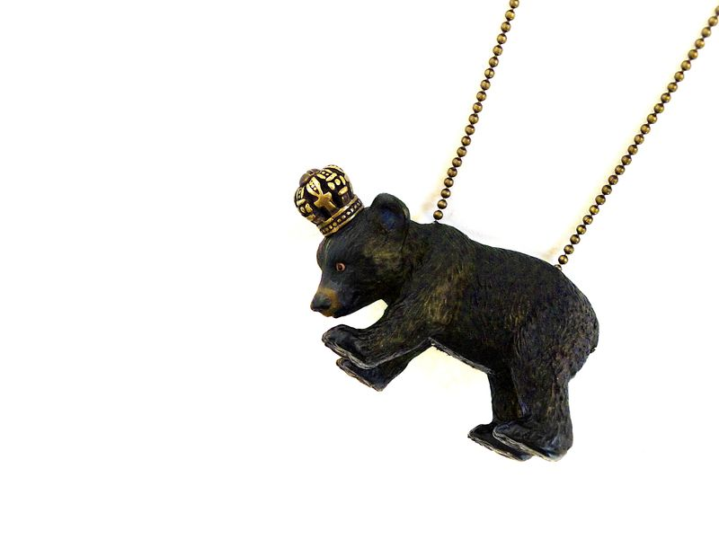 ebd243f7d Small brown crowned bear cub with a antique bronze ball chain. Necklace