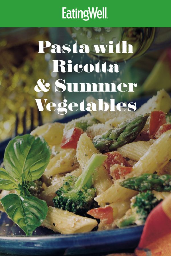 Pasta with Ricotta & Summer Vegetables Getting in your daily servings of vegetables is easy when you feature this veggie-loaded pasta recipe. It's full of broccoli, asparagus, and tomatoes and a creamy ricotta-tomato sauce—you'll be amazed that it takes just 25 minutes to prepare.