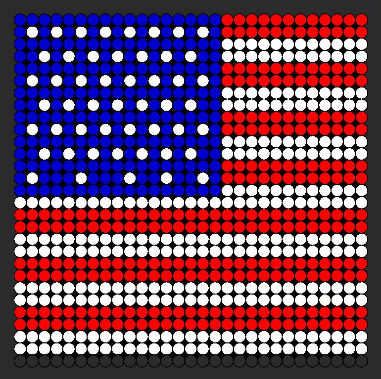 American Flag Large Perler Bead Pattern / Bead Sprite | Perler Beads ...