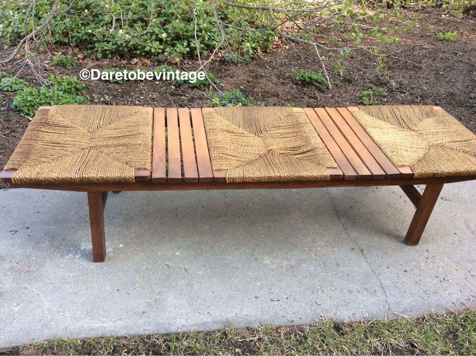 Vintage Japanese Mid Century Woven Jute And Slat Bench Mid Century Modern Jute Bench 3 Seat Japanese Benc Vintage Japanese Mid Century Modern Vintage Bench
