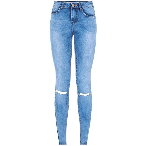 Blue Ripped Knee Skinny Jeans (285 ZAR) ❤ liked on Polyvore featuring jeans, super ripped skinny jeans, skinny fit jeans, faded skinny jeans, destroyed jeans und destructed skinny jeans