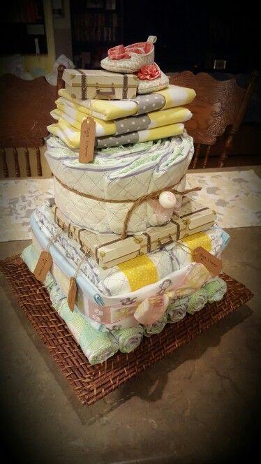 Travel theme baby shower diaper cake #diapercake #diy #babyshower