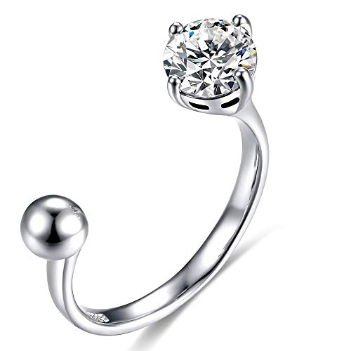 Poplar Band Ring With One Carat Cubic Zirconia Bead Ball Platinum Plating Sterling Silver For Women Girl Adjustable Size D In 2020 Ring Fit Band Rings Jewlery Rings