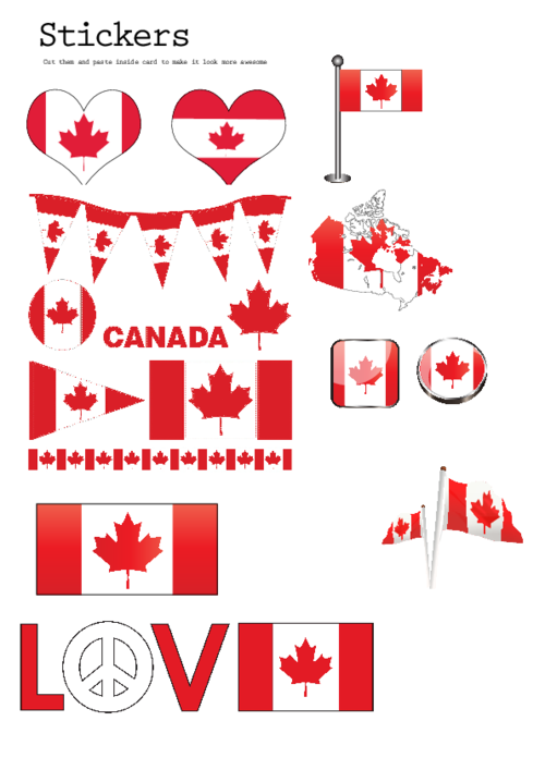 Print your own canada themed stickers canadian stickers are easy to make with this free printable image simply use sticker paper found at office supply