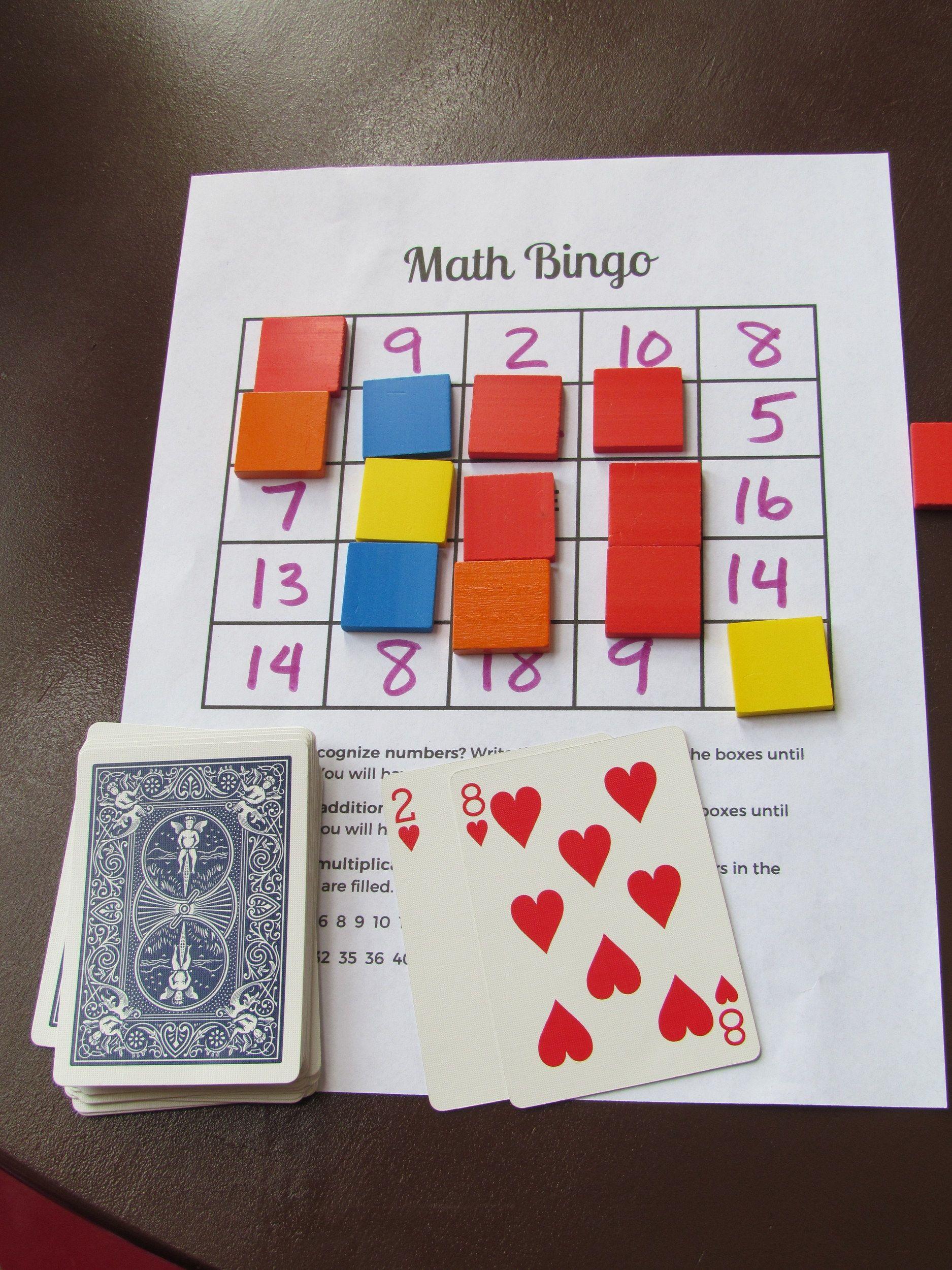 """Math Bingo free printable Bingo board. """"Kids can"""