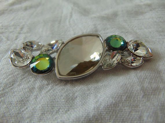 87547230d51 vintage rare ysl clear swarovski crystals light green blue. Find this Pin  ...