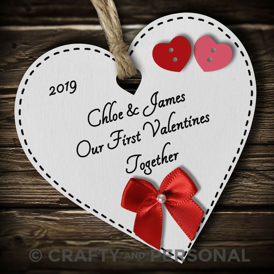 Personalised 1st First Valentines Together gift present heart plaque keepsake