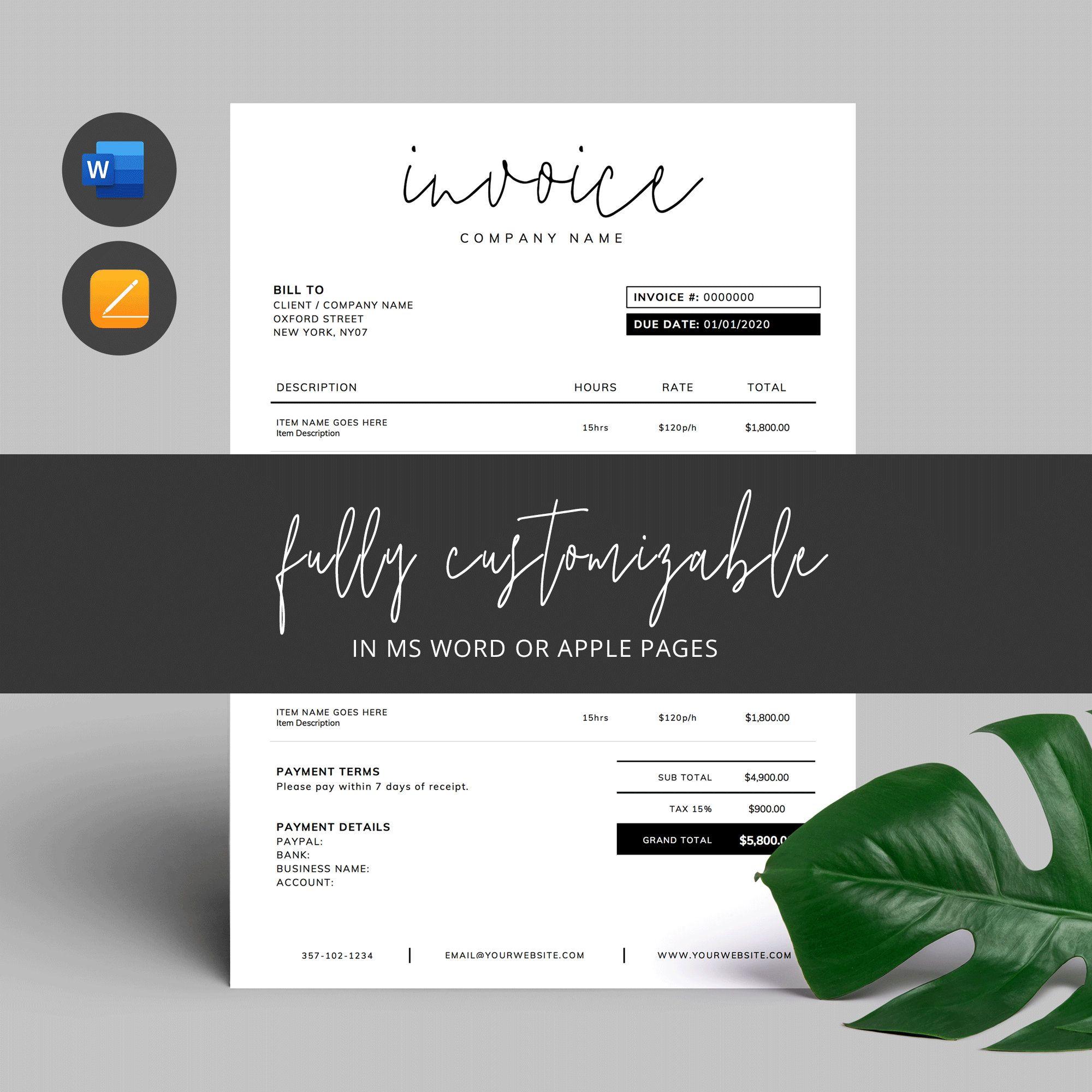 Printable Invoice Template Word Editable Invoice Custom Etsy Photography Invoice Template Invoice Template Word Photography Invoice