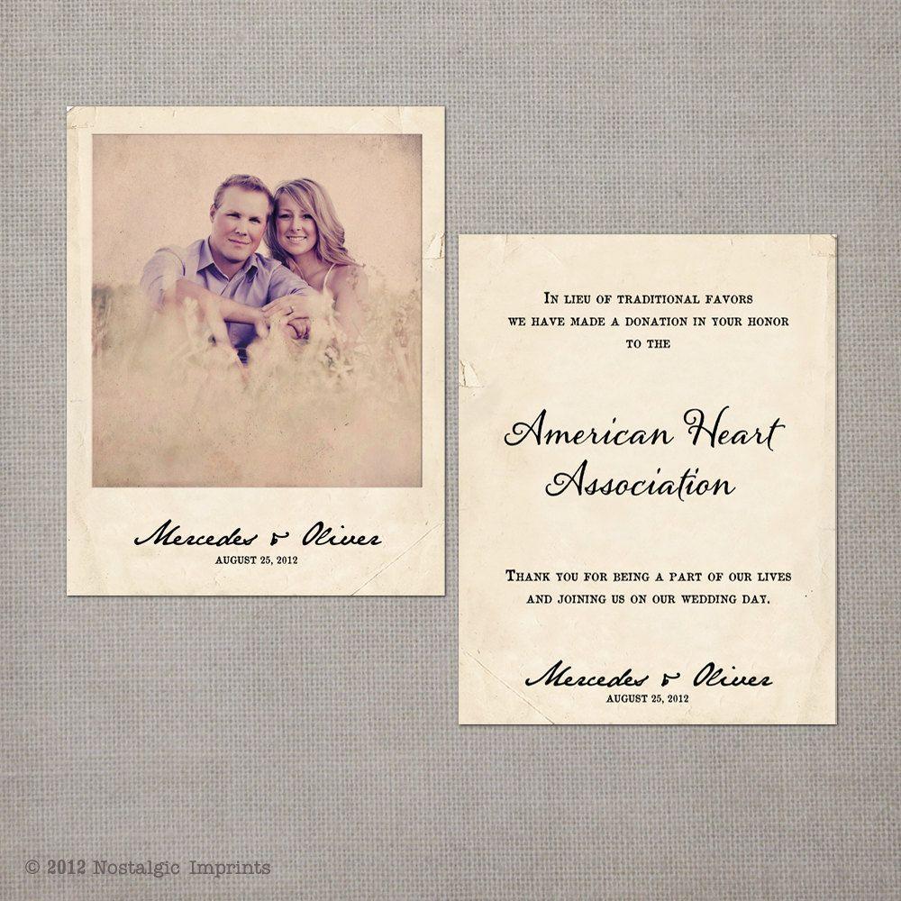 Cherish wedding favor donation card by nostalgicimprints on etsy