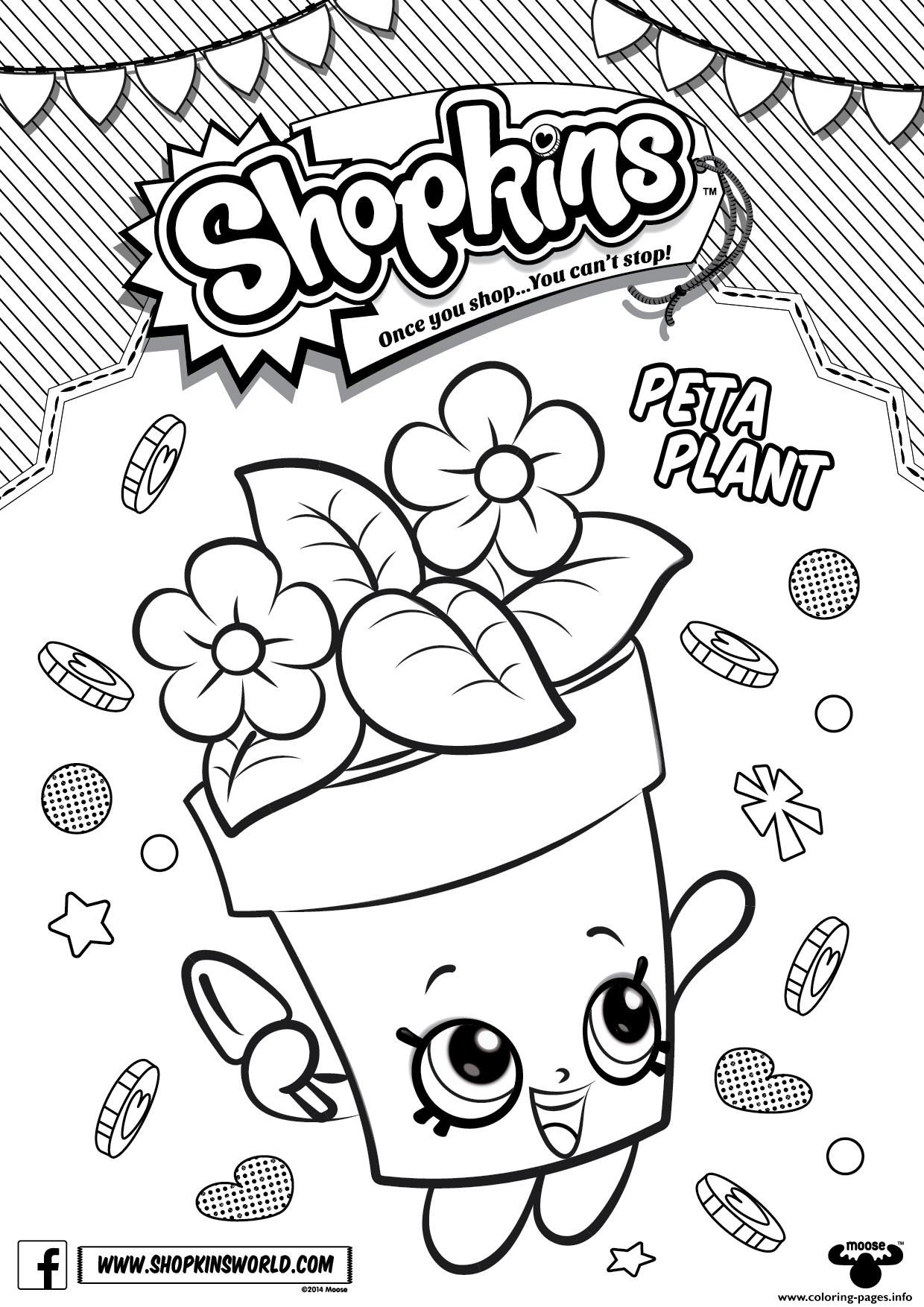 Print Shopkins Peta Plant Coloring Pages Printables Pinterest