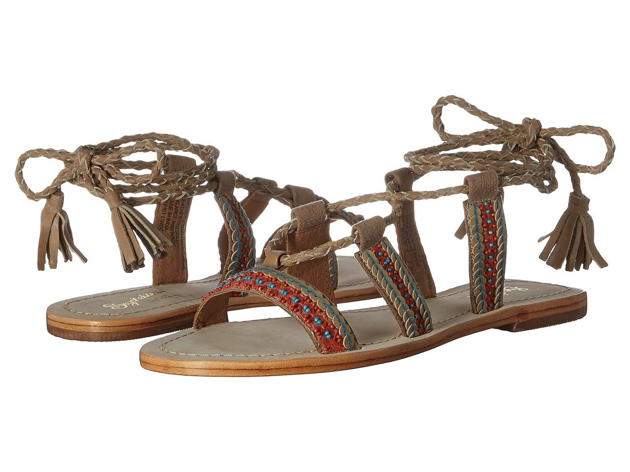 Seychelles In Flight Taupe Aztec Bead Lace-Up Gladiator Sandal Shoe 6 New,  Girl's, Brown