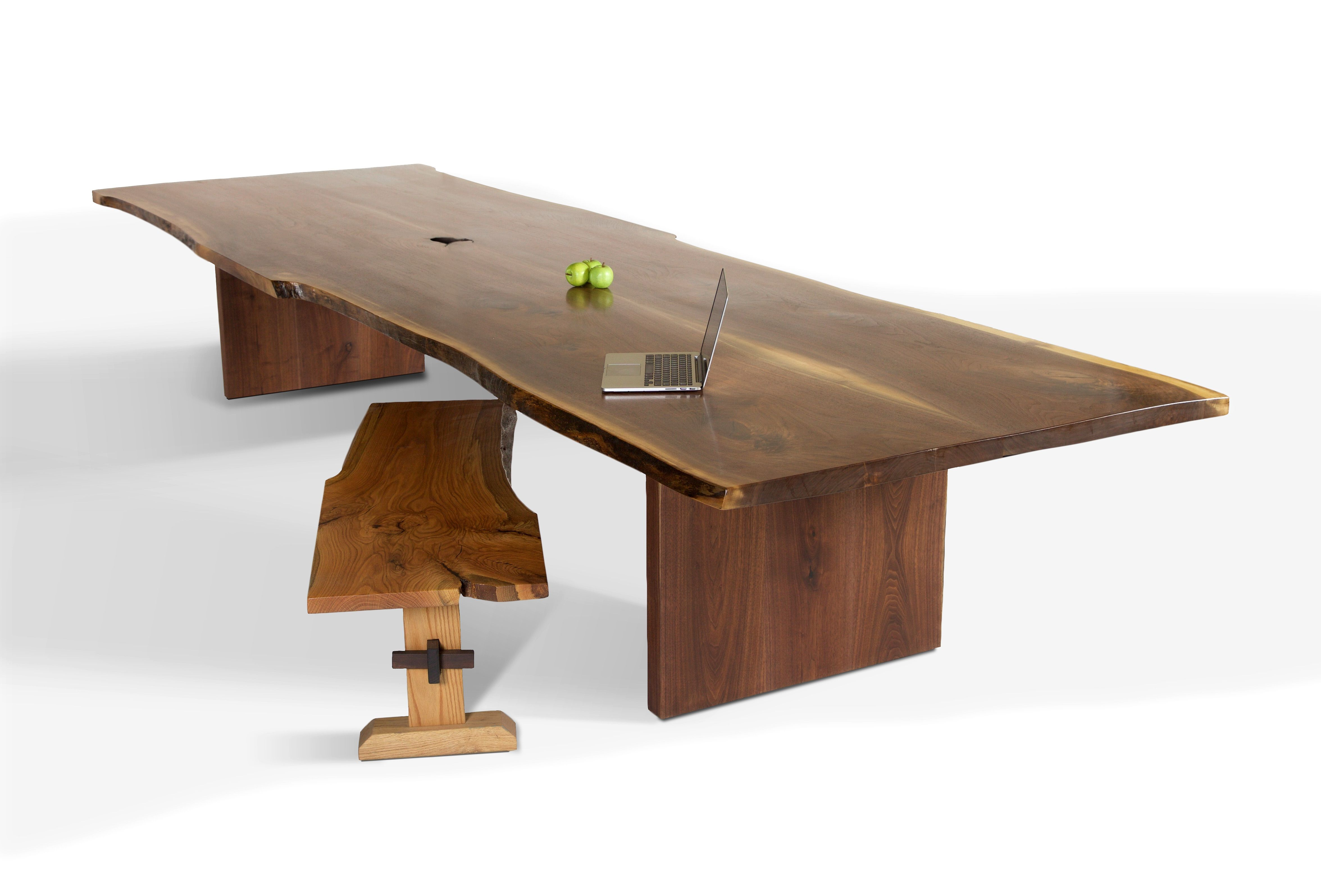 Live Edge Walnut Slab Dining Table With Square Aluminum Legs -
