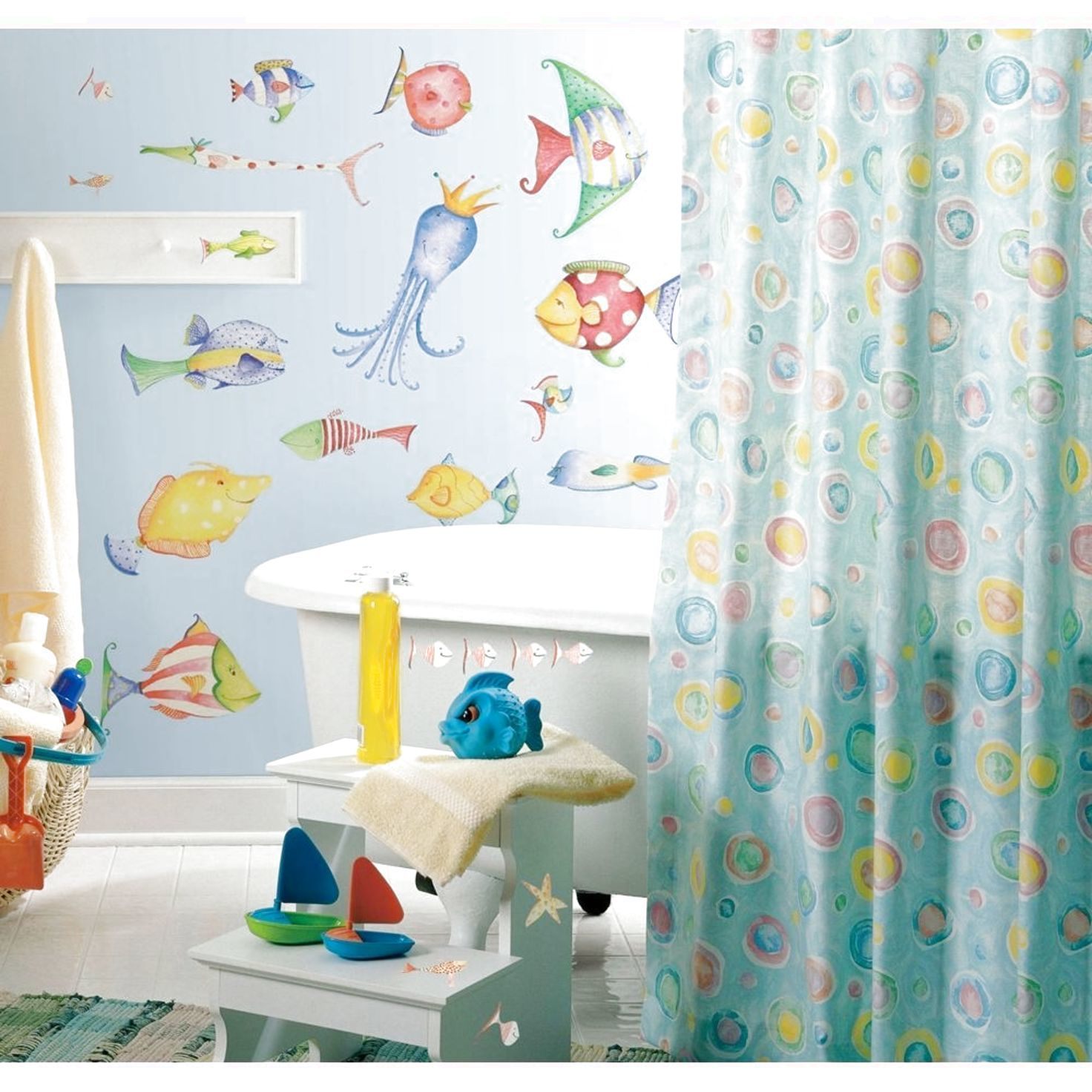 New Sea Creatures Wall Decals Tropical Fish Bathroom Stickers