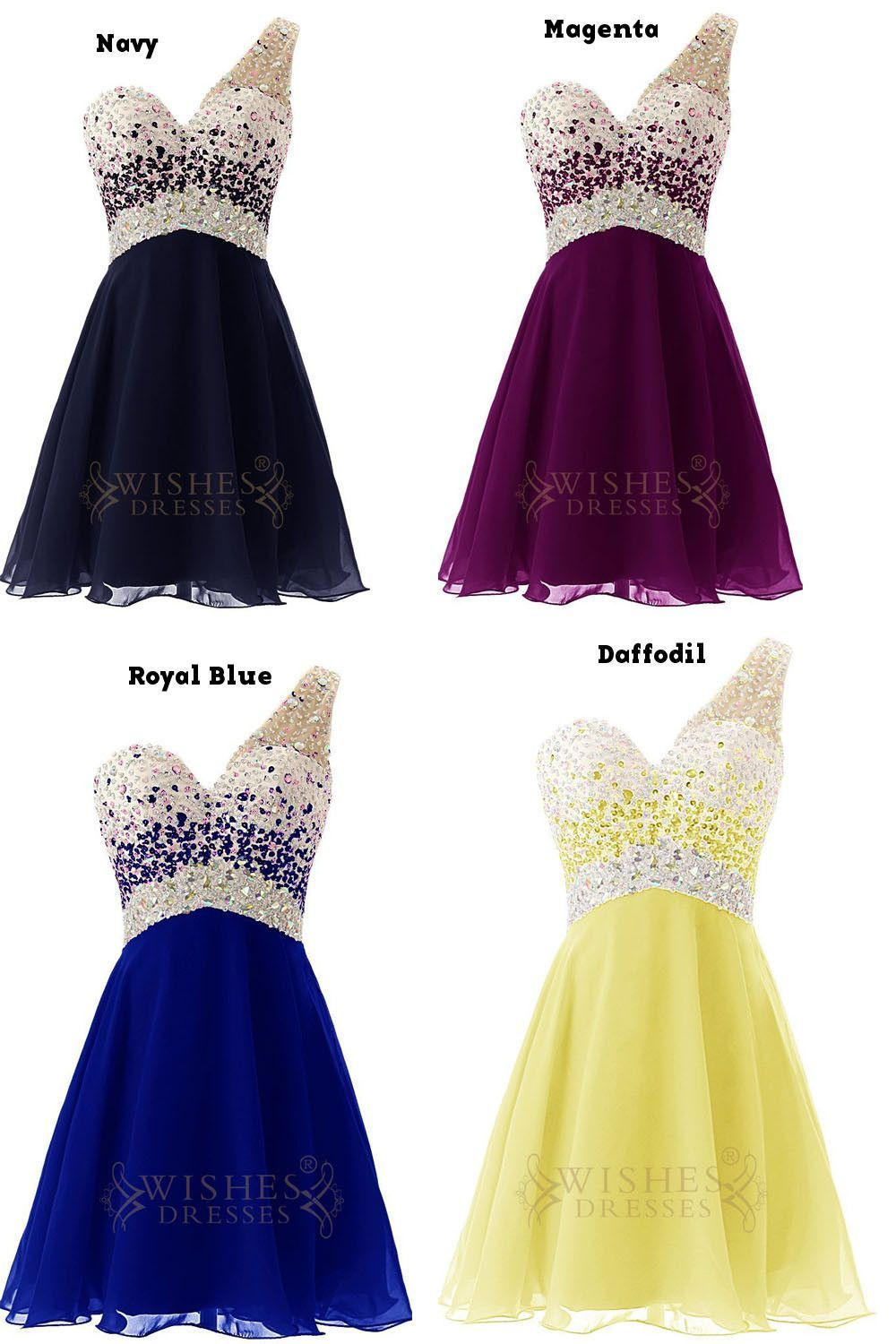 Sexy One-shoulder Beaded Bodice Short Prom Dress Am54 | Holiday ...