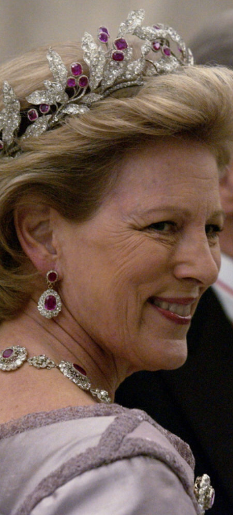 Queen Anne-Marie wearing the Ruby Laurel Wreath Tiara, Greece (19th c.; rubies, diamonds).