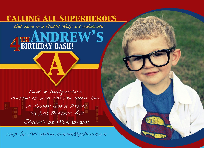 Superhero Birthday Invitation Superhero Invitation Superhero – Superman Birthday Invitations