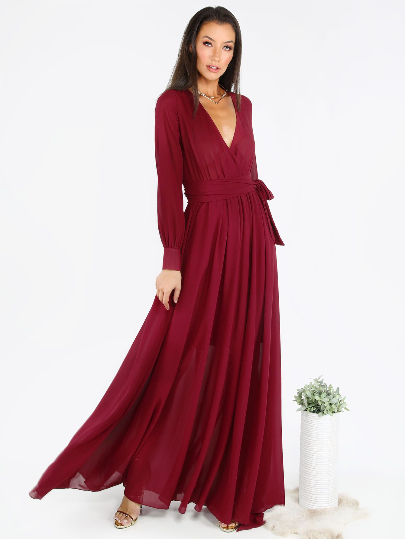 Pink deep v neck ruffle sleeveless maxi dress makemechiccom