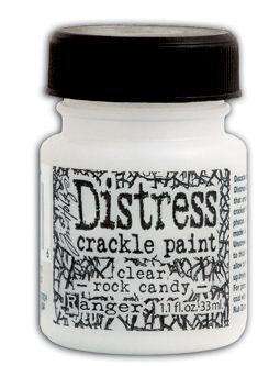 RANGER: TIM HOLTZ - DISTRESS CRACKLE PAINT -CLEAR ROCK CANDY Distress Crackle Paint er en maling som lager en eldet effekt - krakelering.   http://www.kreativscrapping.no/categories/tim-holtz-distress-crackle-paint