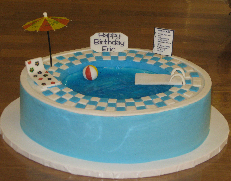 Swimming Pool Cake Pool party cakes, Swimming pool cake