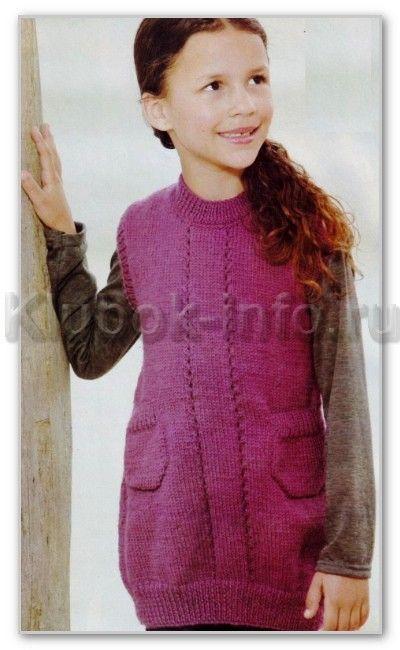 Вязаное платье девочке 10 лет спицами