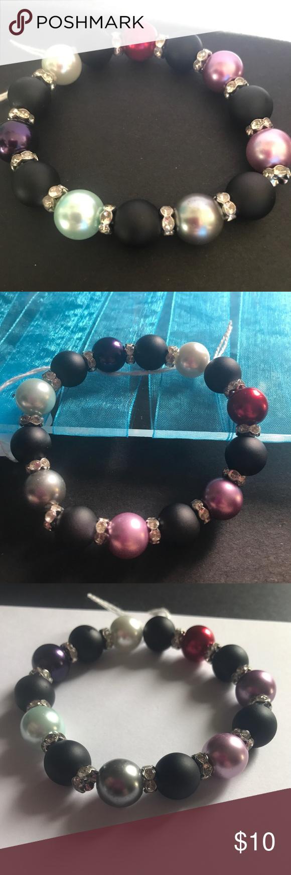 Pearl and matte bracelet Handmade black glass matte beads, color pearl glass beads, and Czech rhinestones. kraftykreps Jewelry Bracelets