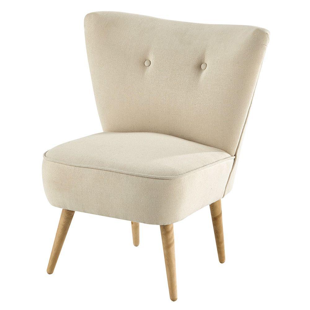 Baumwollsessel im Vintage Stil beige Sessel