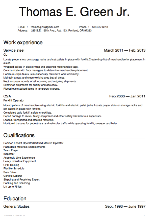 Example Of Warehouse Resume Examples Resume Cv Warehouse Resume Resume Job Info