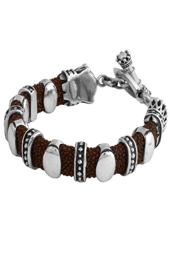 Mens Red Stingray Bracelet | Silver Link Bracelets For Men - King Baby