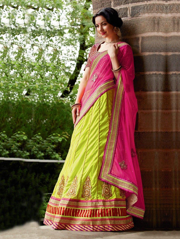 Dark Pink And Green Net Lehenga Saree With Zari And Diamond Work #Wedding #Saree